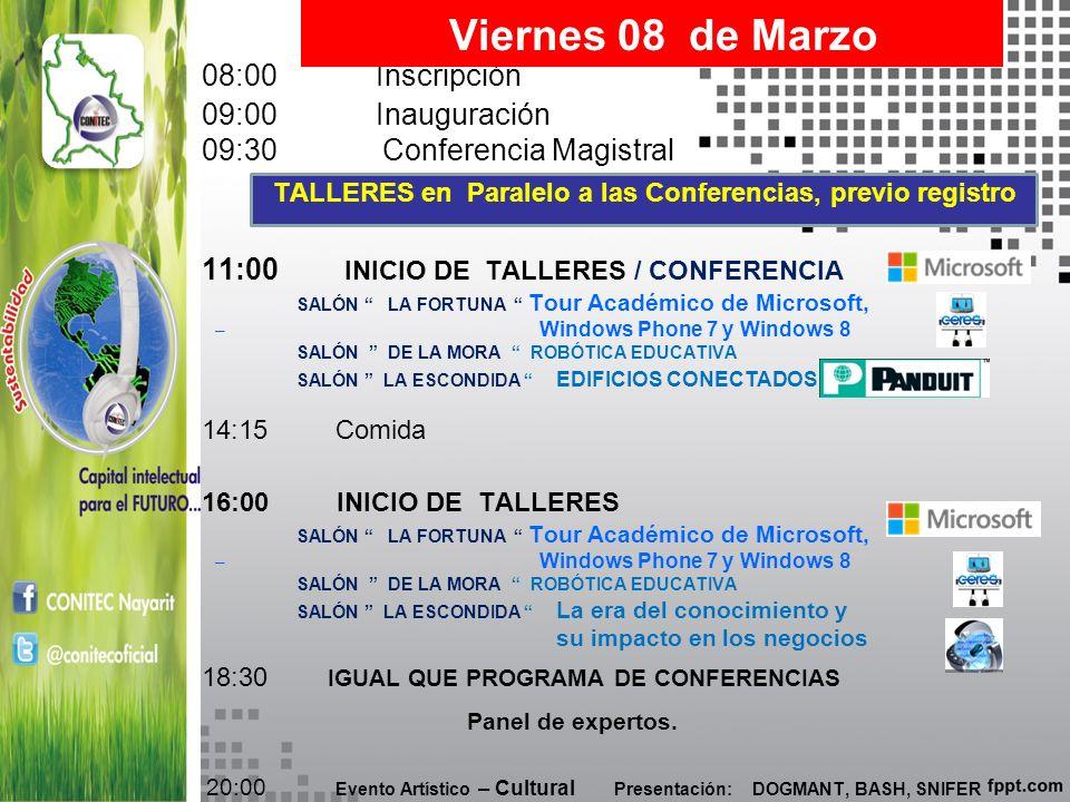 TALLERES en Paralelo a las Conferencias, previo registro