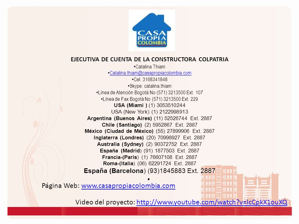 EJECUTIVA DE CUENTA DE LA CONSTRUCTORA COLPATRIA
