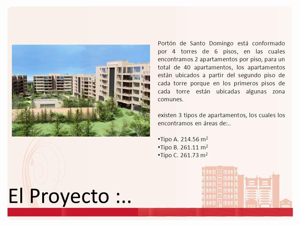 Portón de Santo Domingo está conformado por 4 torres de 6 pisos, en las cuales encontramos 2 apartamentos por piso, para un total de 40 apartamentos, los apartamentos están ubicados a partir del segundo piso de cada torre porque en los primeros pisos de cada torre están ubicadas algunas zona comunes.