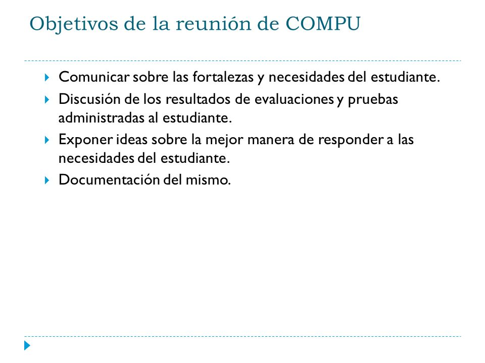 Objetivos de la reunión de COMPU