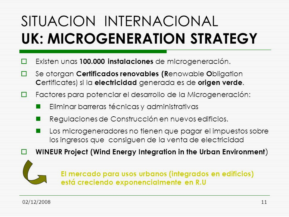 SITUACION INTERNACIONAL UK: MICROGENERATION STRATEGY