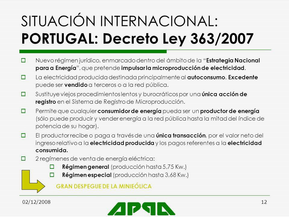 SITUACIÓN INTERNACIONAL: PORTUGAL: Decreto Ley 363/2007