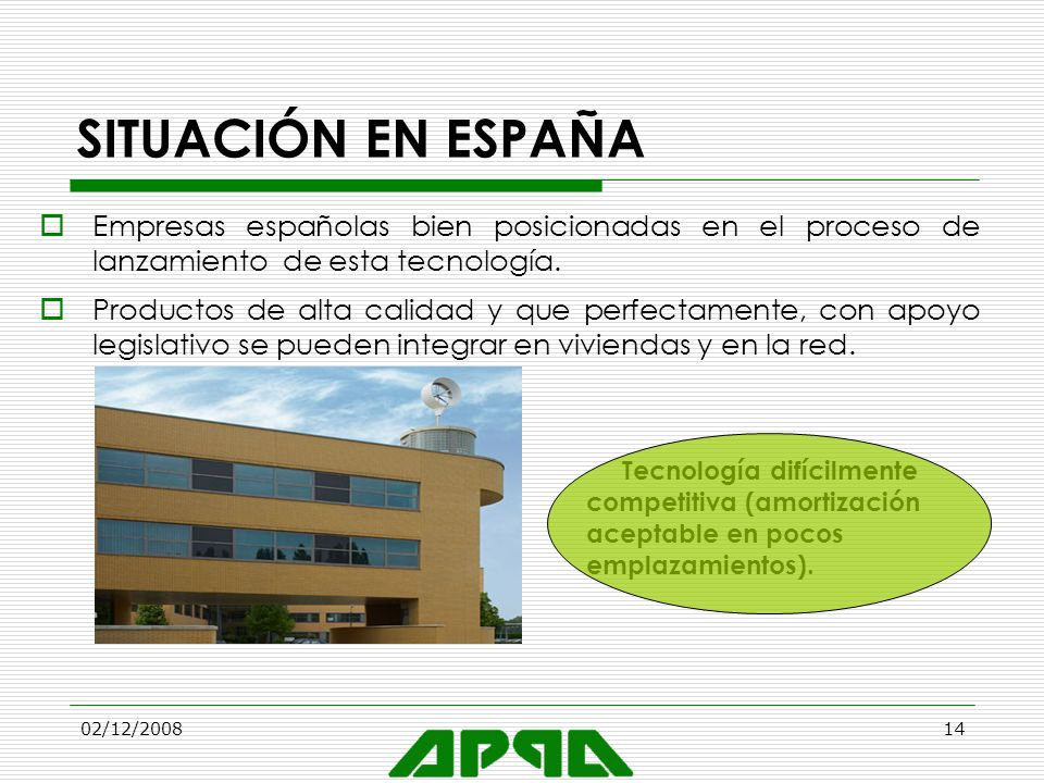 SITUACIÓN EN ESPAÑA Empresas españolas bien posicionadas en el proceso de lanzamiento de esta tecnología.