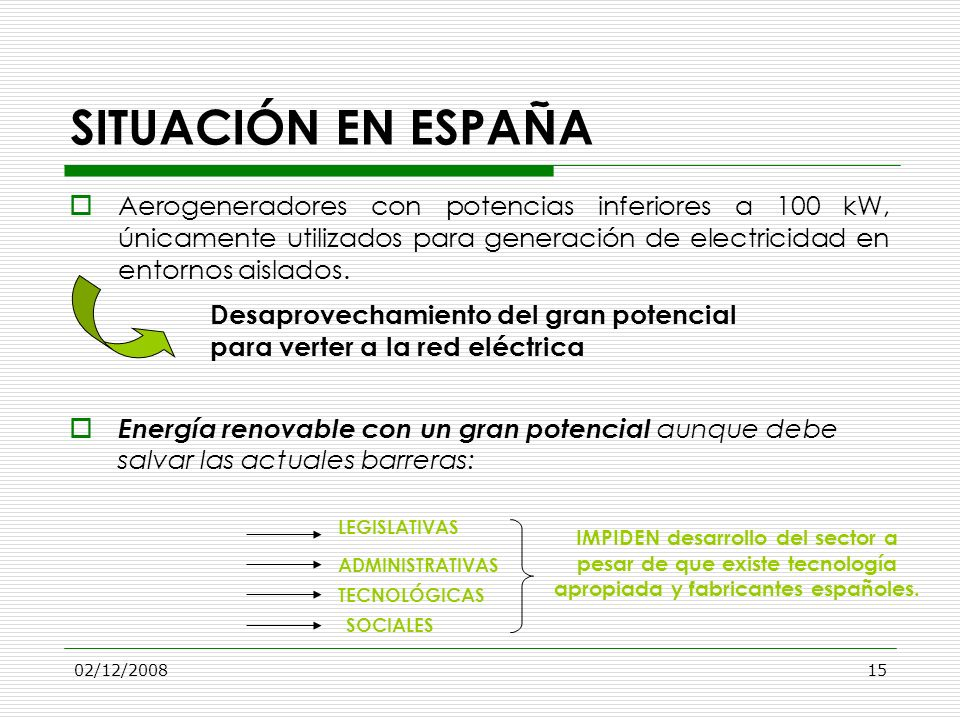 SITUACIÓN EN ESPAÑA Aerogeneradores con potencias inferiores a 100 kW, únicamente utilizados para generación de electricidad en entornos aislados.