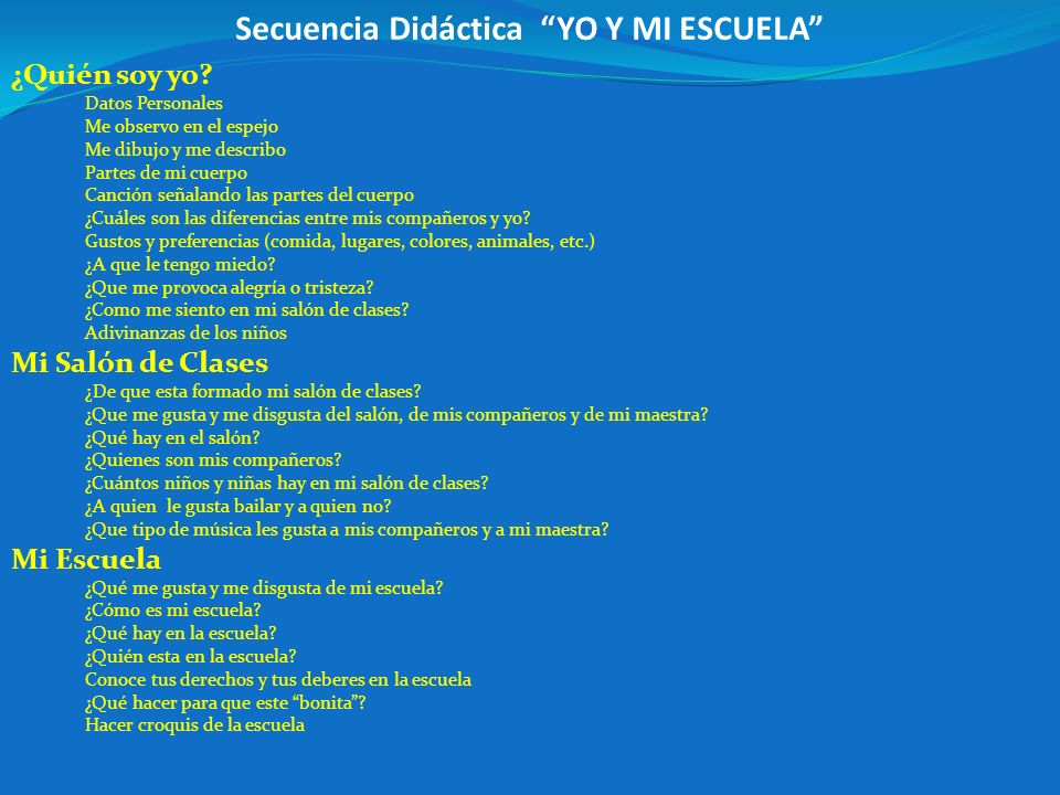 Secuencia Didáctica YO Y MI ESCUELA