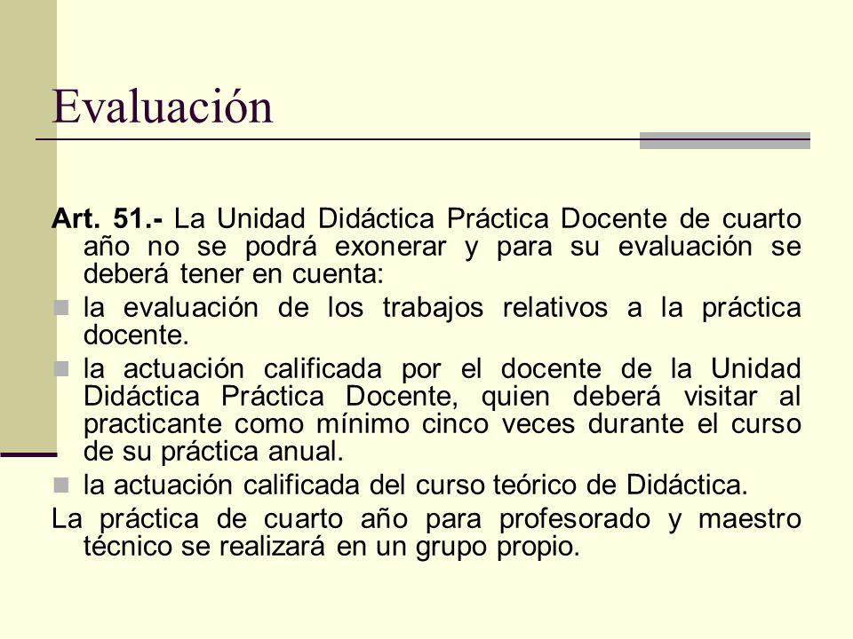 Evaluación Art. 51.- La Unidad Didáctica Práctica Docente de cuarto año no se podrá exonerar y para su evaluación se deberá tener en cuenta: