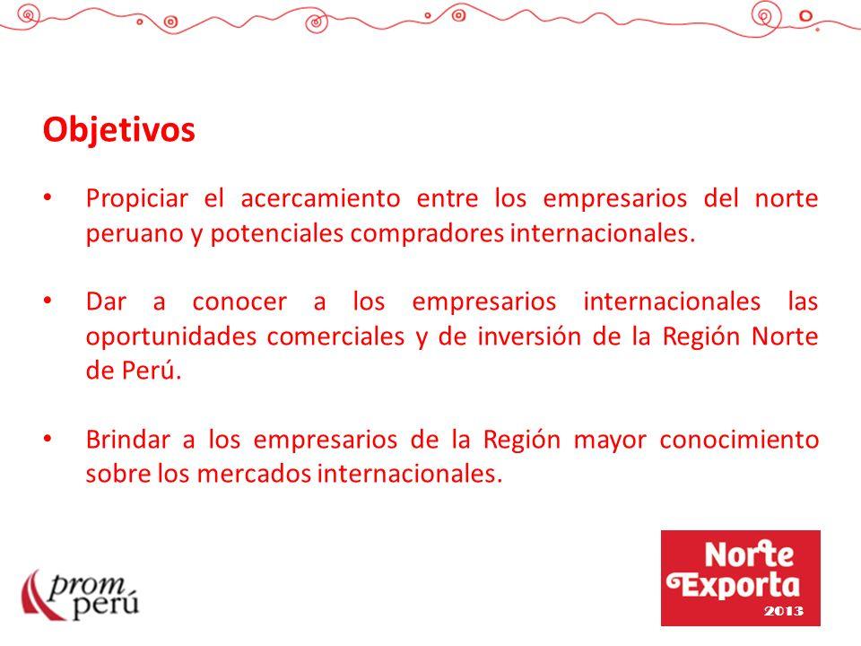 Objetivos Propiciar el acercamiento entre los empresarios del norte peruano y potenciales compradores internacionales.