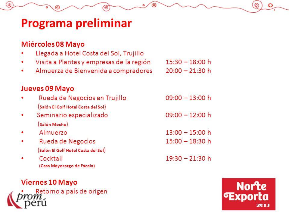 Programa preliminar Miércoles 08 Mayo Jueves 09 Mayo Viernes 10 Mayo