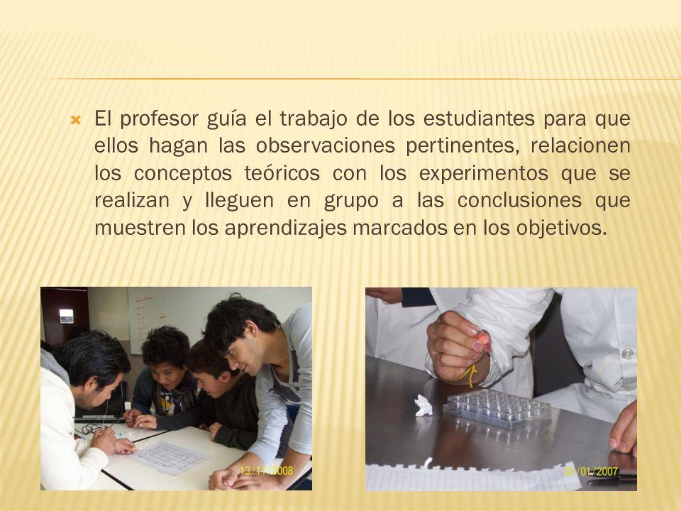 El profesor guía el trabajo de los estudiantes para que ellos hagan las observaciones pertinentes, relacionen los conceptos teóricos con los experimentos que se realizan y lleguen en grupo a las conclusiones que muestren los aprendizajes marcados en los objetivos.