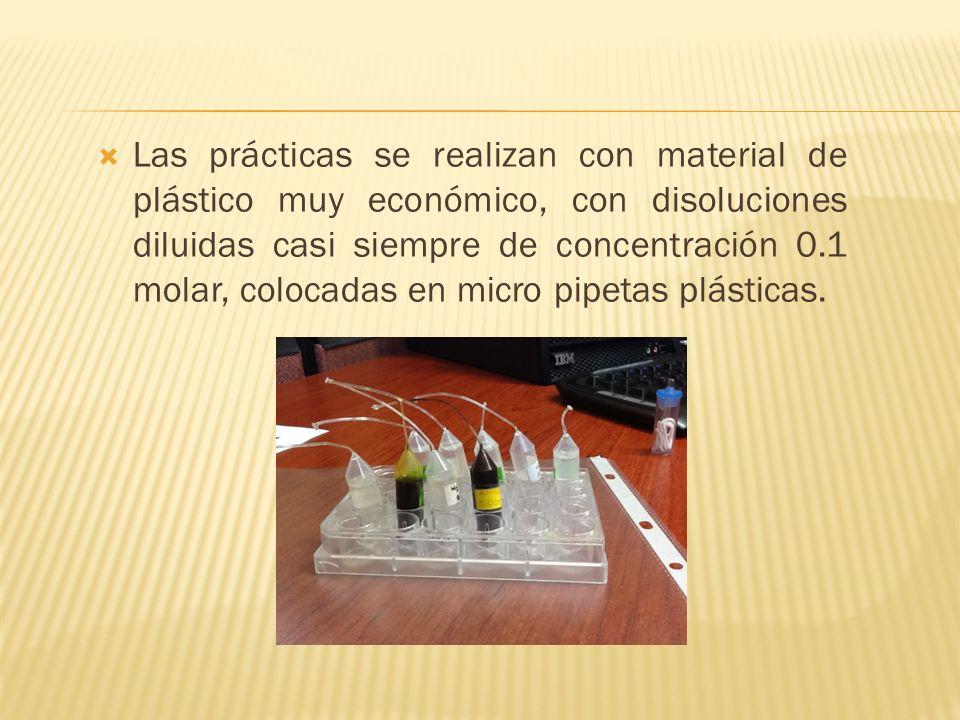 Las prácticas se realizan con material de plástico muy económico, con disoluciones diluidas casi siempre de concentración 0.1 molar, colocadas en micro pipetas plásticas.