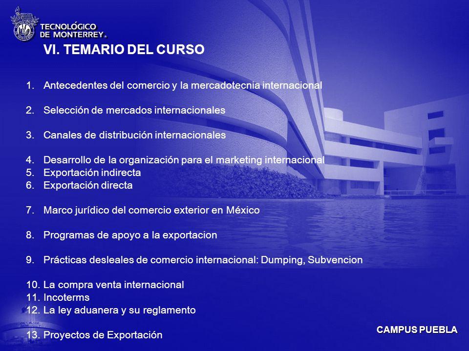 VI. TEMARIO DEL CURSO Antecedentes del comercio y la mercadotecnia internacional. Selección de mercados internacionales.