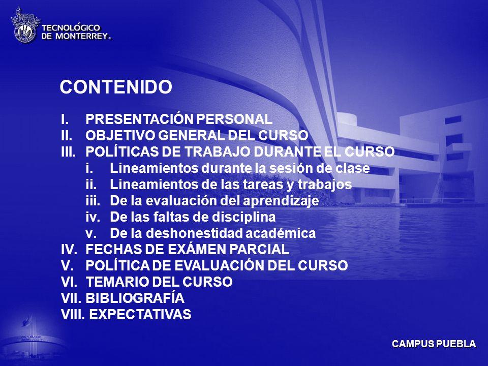 CONTENIDO PRESENTACIÓN PERSONAL OBJETIVO GENERAL DEL CURSO