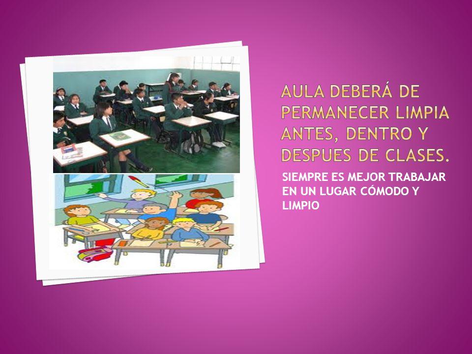 AULA DEBERÁ DE PERMANECER LIMPIA ANTES, DENTRO Y DESPUES DE CLASES.