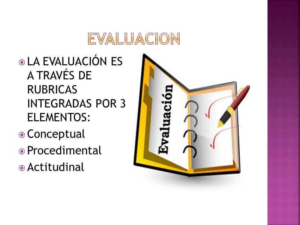 EVALUACION LA EVALUACIÓN ES A TRAVÉS DE RUBRICAS INTEGRADAS POR 3 ELEMENTOS: Conceptual. Procedimental.
