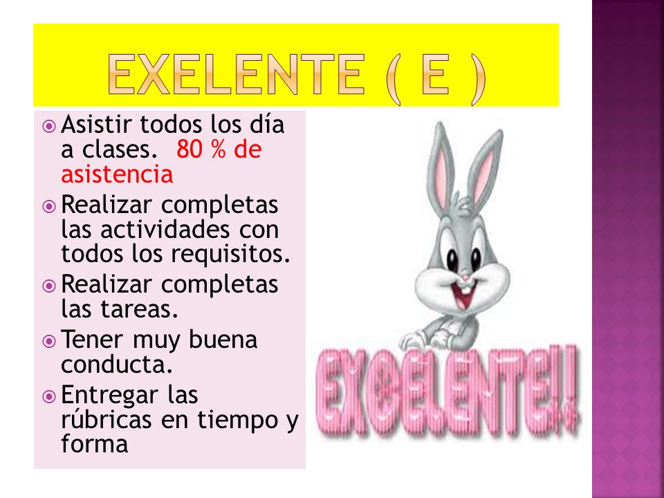 EXELENTE ( E ) Asistir todos los día a clases. 80 % de asistencia