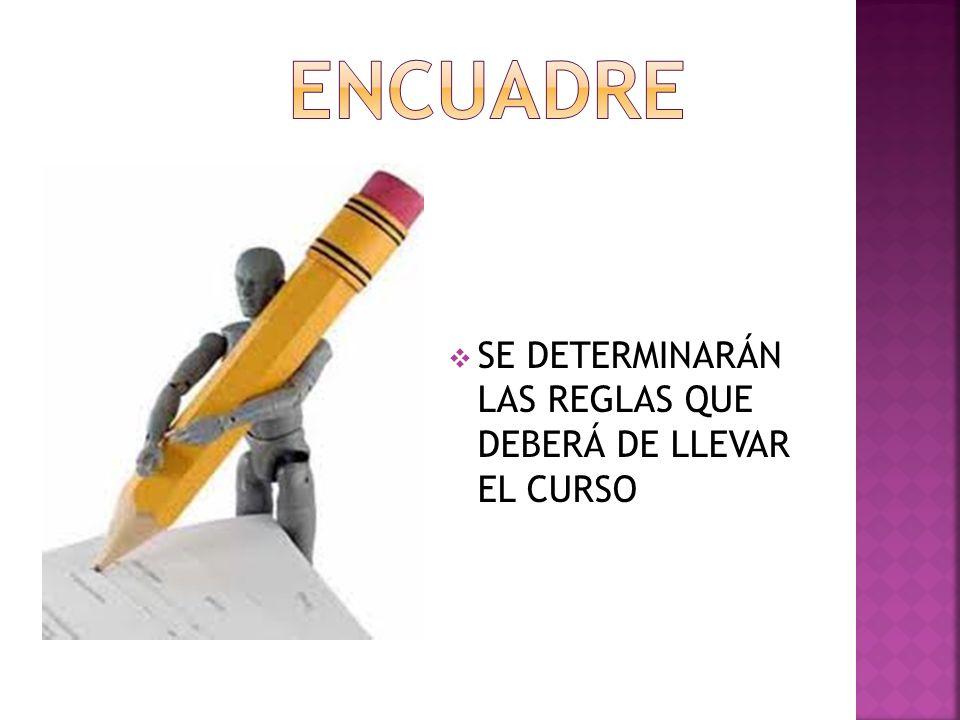 ENCUADRE SE DETERMINARÁN LAS REGLAS QUE DEBERÁ DE LLEVAR EL CURSO