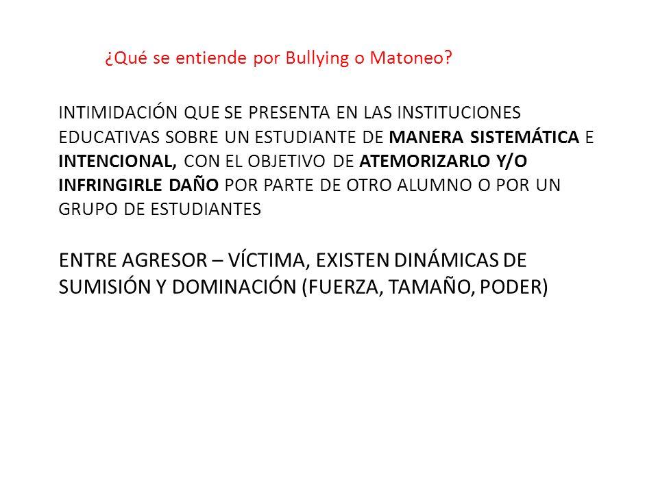 ¿Qué se entiende por Bullying o Matoneo