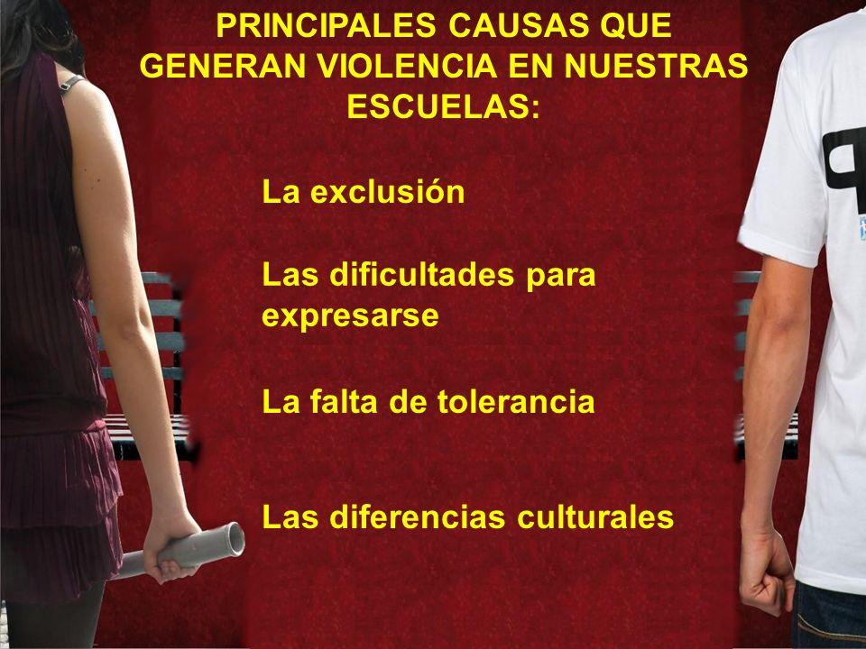 PRINCIPALES CAUSAS QUE GENERAN VIOLENCIA EN NUESTRAS ESCUELAS: