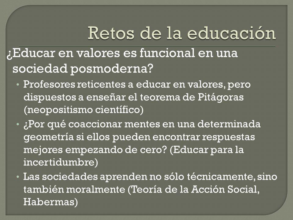 Retos de la educación ¿Educar en valores es funcional en una sociedad posmoderna