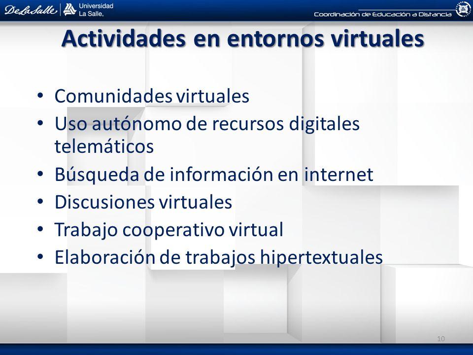 Actividades en entornos virtuales