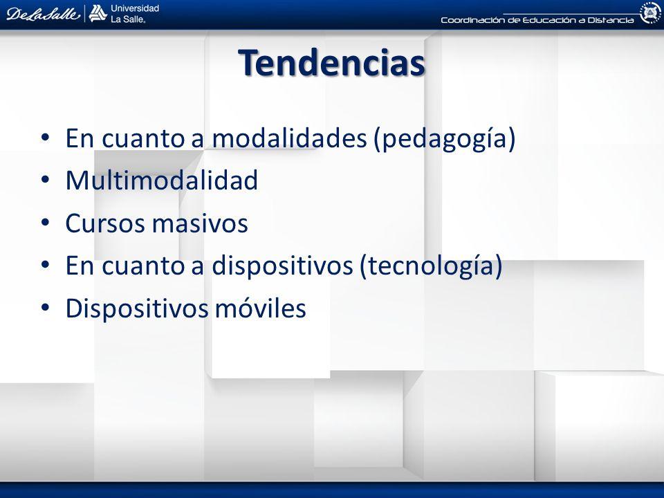 Tendencias En cuanto a modalidades (pedagogía) Multimodalidad