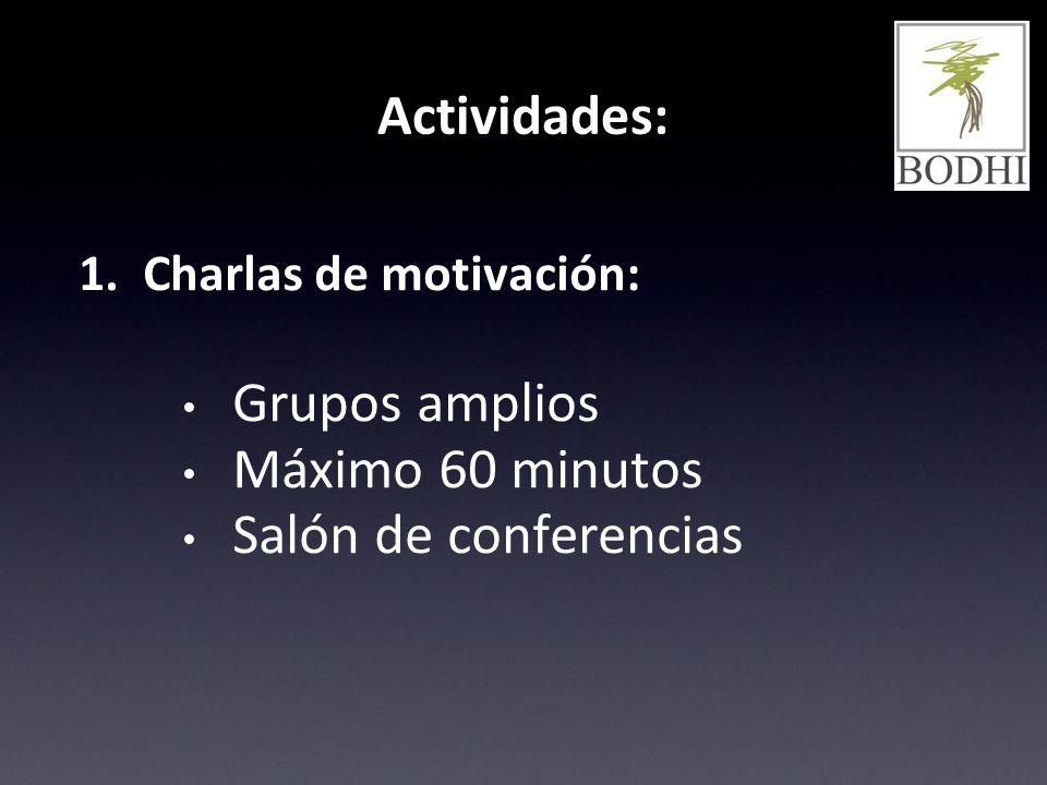 Actividades: Grupos amplios Máximo 60 minutos Salón de conferencias
