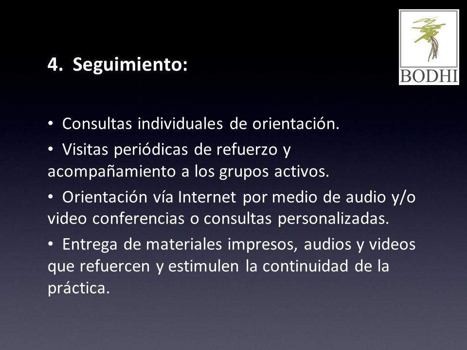 4. Seguimiento: Consultas individuales de orientación.