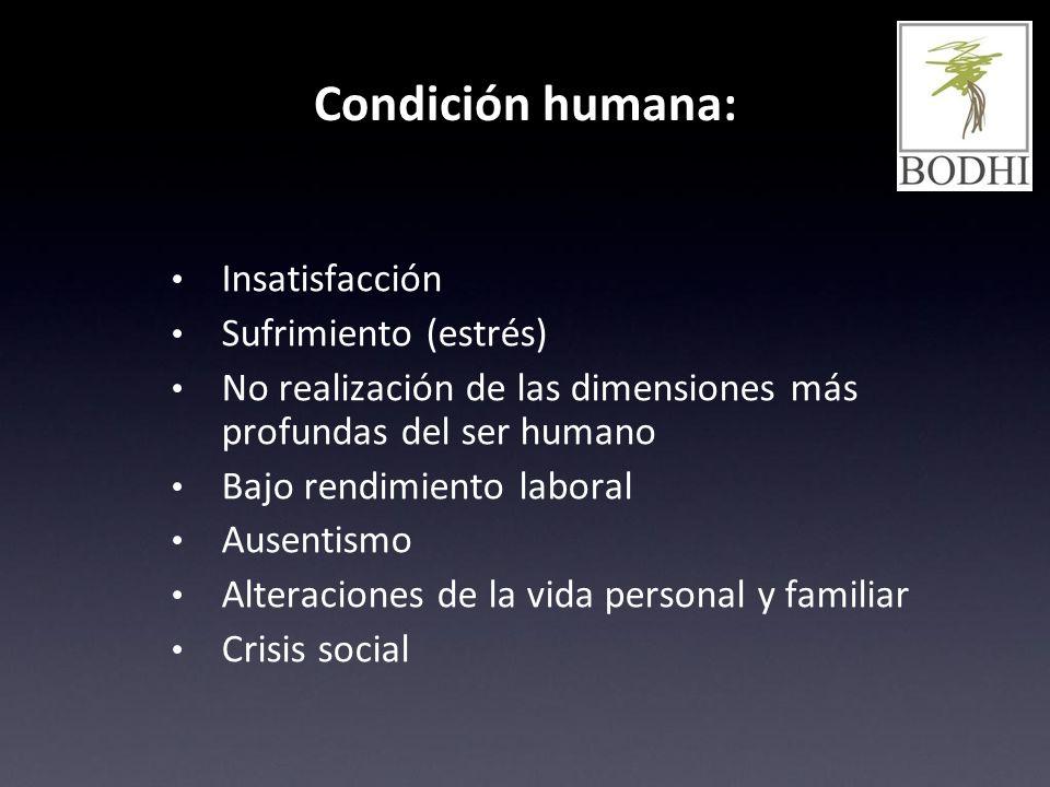 Condición humana: Insatisfacción Sufrimiento (estrés)
