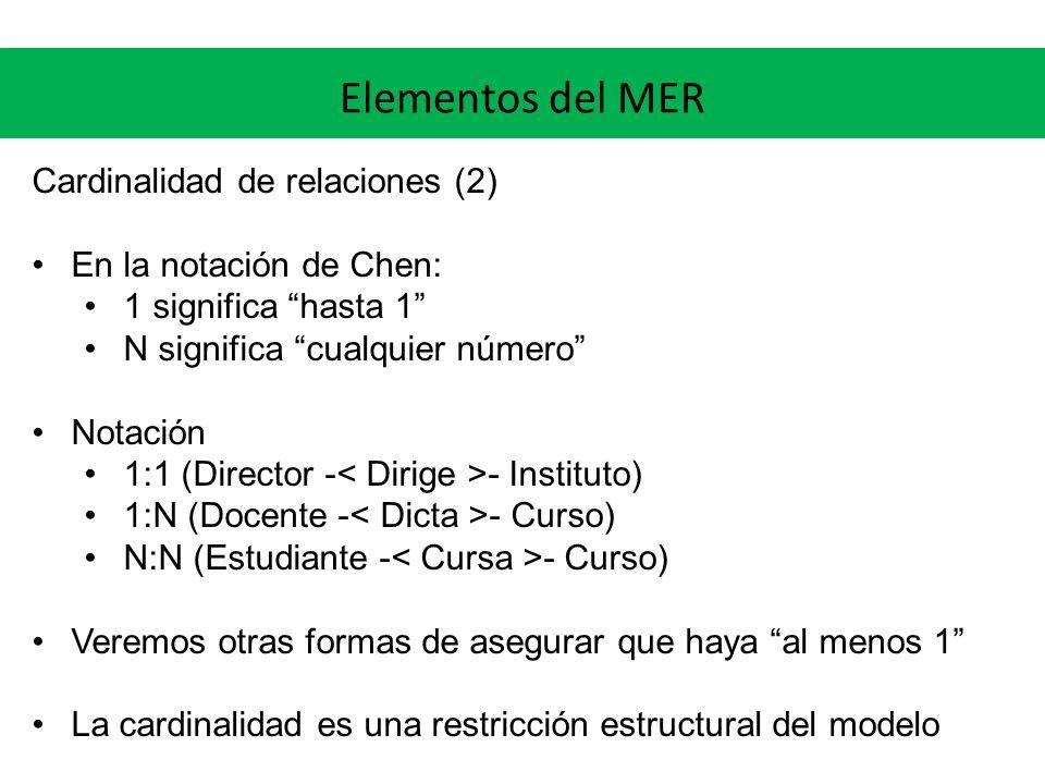 Elementos del MER Cardinalidad de relaciones (2)