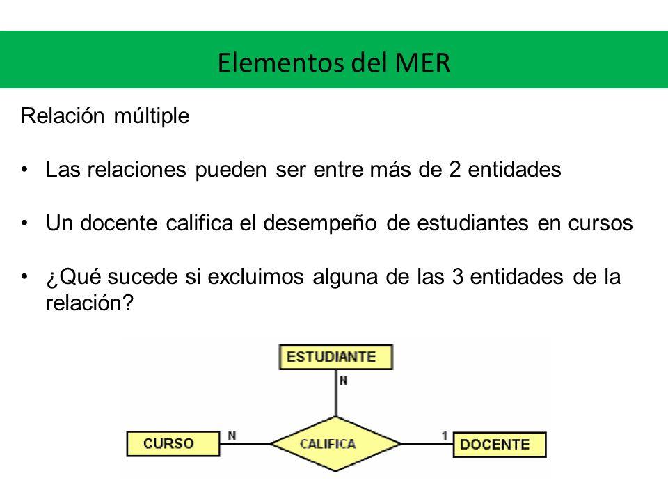 Elementos del MER Relación múltiple