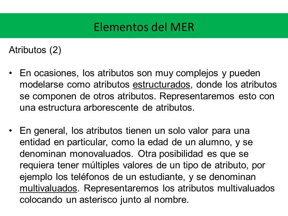 Elementos del MER Atributos (2)