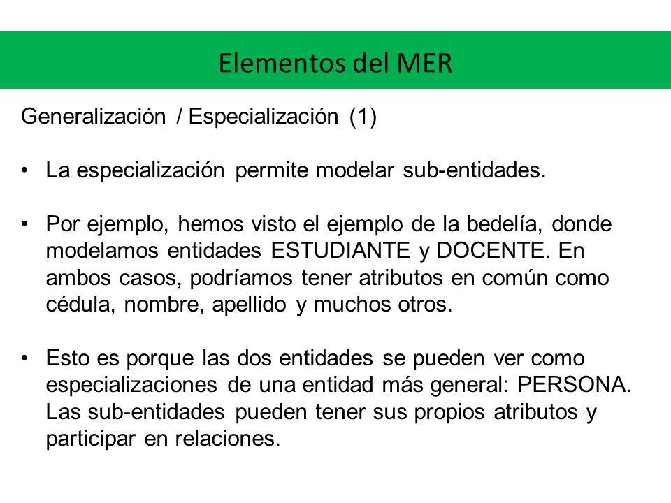 Elementos del MER Generalización / Especialización (1)