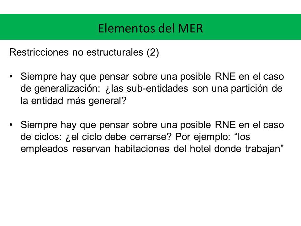 Elementos del MER Restricciones no estructurales (2)