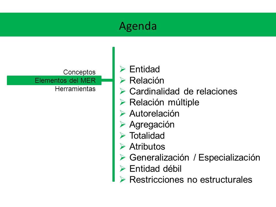 Agenda Entidad Relación Cardinalidad de relaciones Relación múltiple