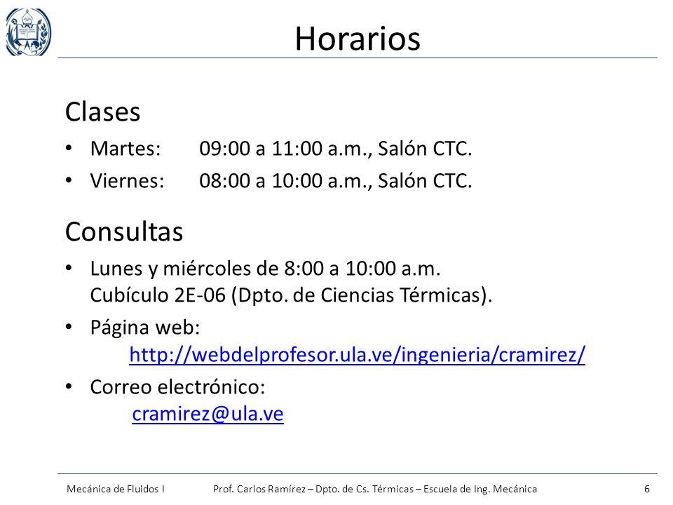 Horarios Clases Consultas Martes: 09:00 a 11:00 a.m., Salón CTC.