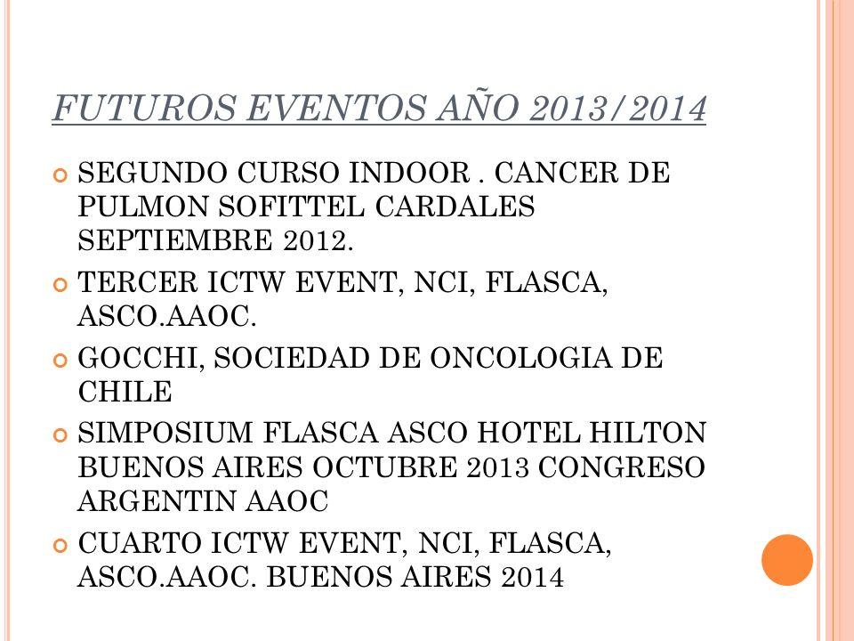 FUTUROS EVENTOS AÑO 2013/2014 SEGUNDO CURSO INDOOR . CANCER DE PULMON SOFITTEL CARDALES SEPTIEMBRE 2012.