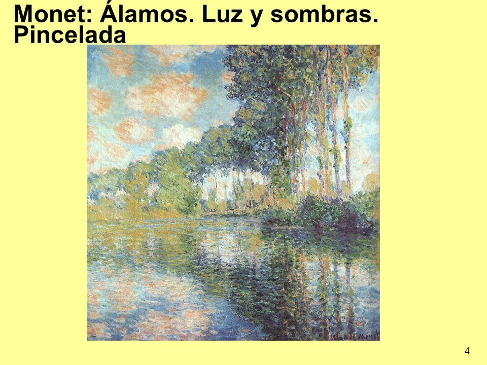Monet: Álamos. Luz y sombras. Pincelada