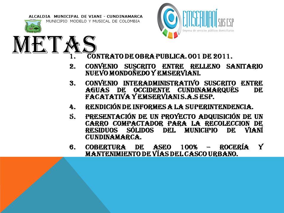 metas contrato de obra publica. 001 de 2011.