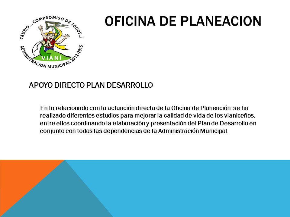 OFICINA DE PLANEACION APOYO DIRECTO PLAN DESARROLLO