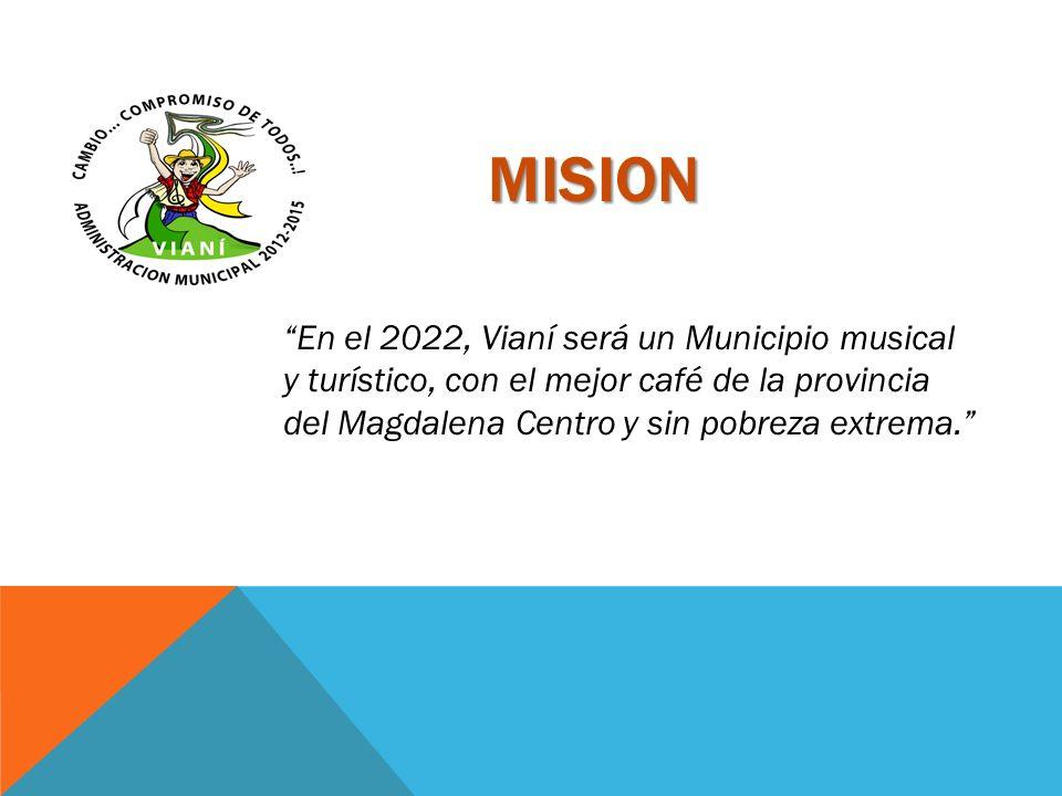 MISION En el 2022, Vianí será un Municipio musical y turístico, con el mejor café de la provincia del Magdalena Centro y sin pobreza extrema.