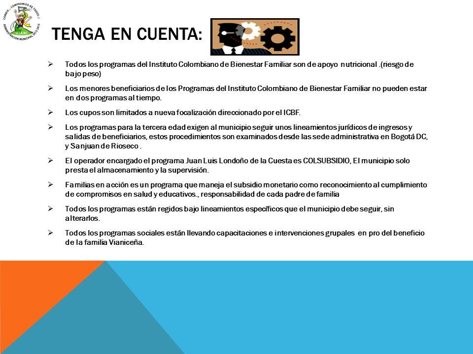 tenga en cuenta: Todos los programas del Instituto Colombiano de Bienestar Familiar son de apoyo nutricional .(riesgo de bajo peso)