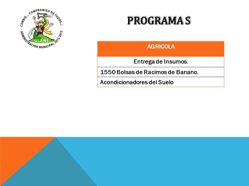 PROGRAMA S AGRICOLA Entrega de Insumos.