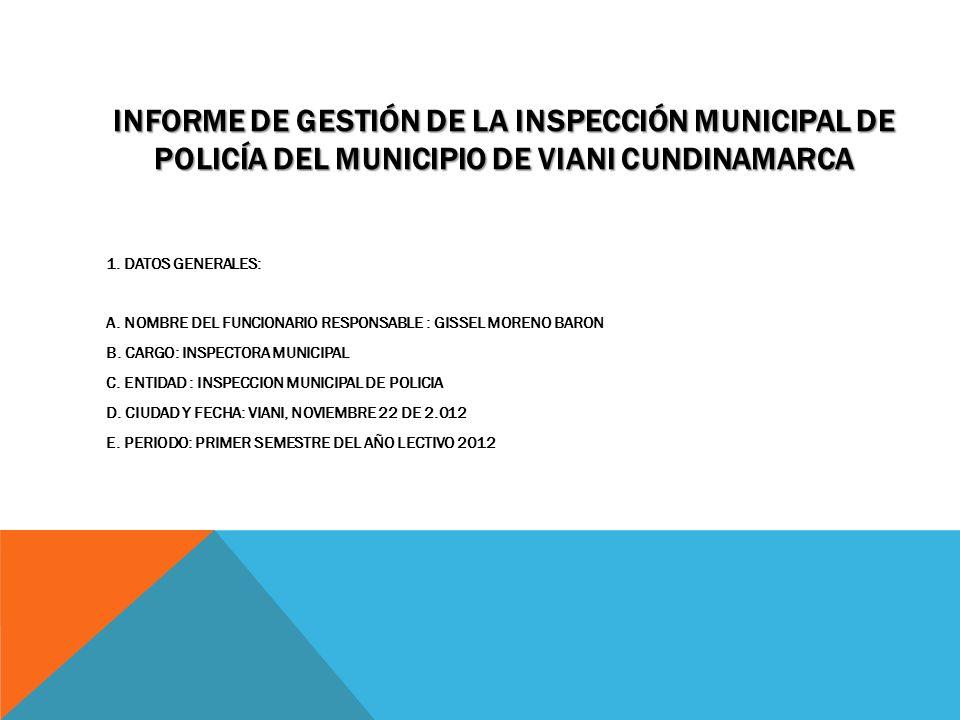 INFORME DE GESTIÓN DE LA INSPECCIÓN MUNICIPAL DE POLICÍA DEL MUNICIPIO DE VIANI CUNDINAMARCA