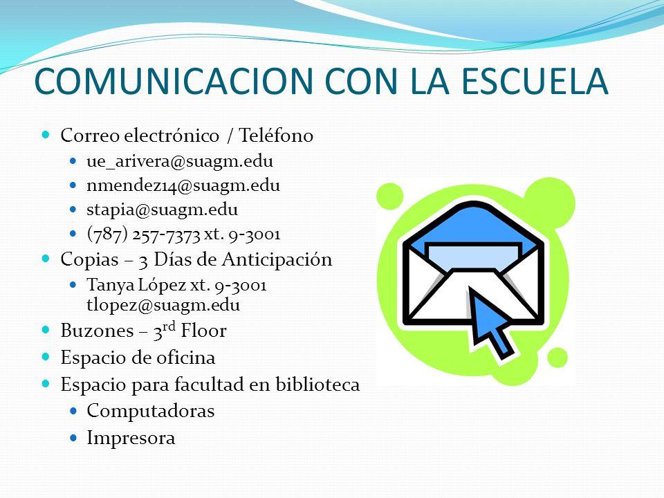 COMUNICACION CON LA ESCUELA