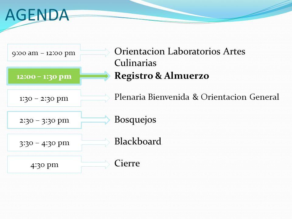 AGENDA Orientacion Laboratorios Artes Culinarias Registro & Almuerzo