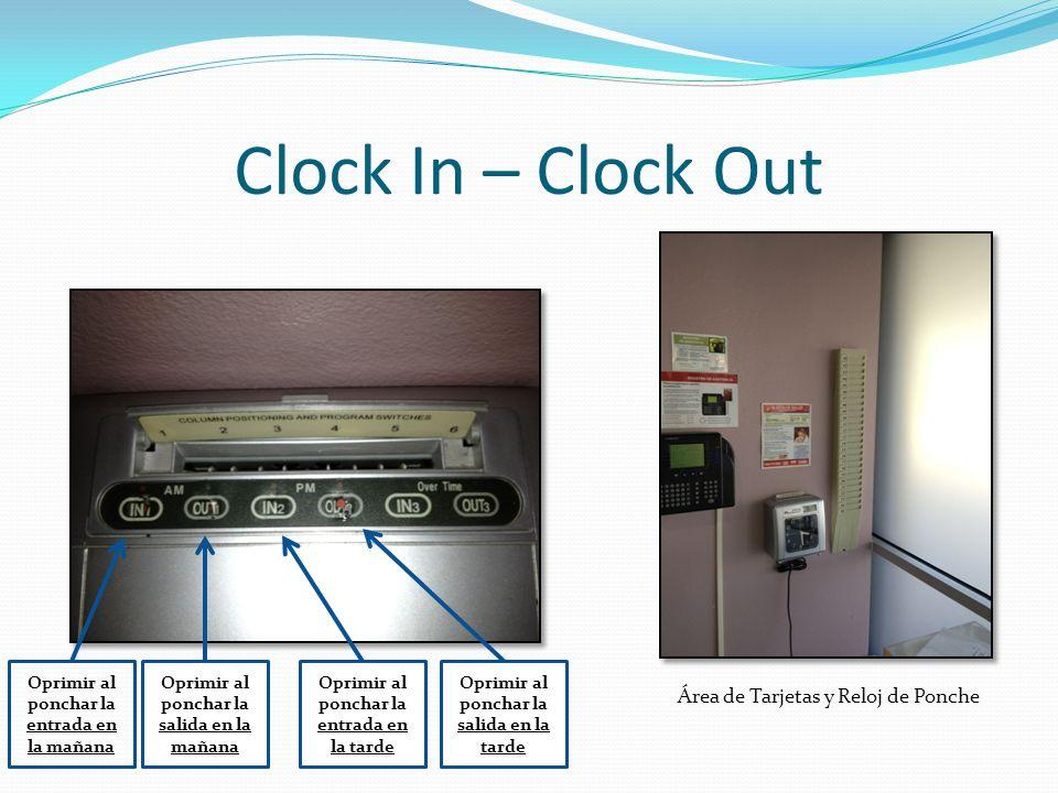 Clock In – Clock Out Área de Tarjetas y Reloj de Ponche