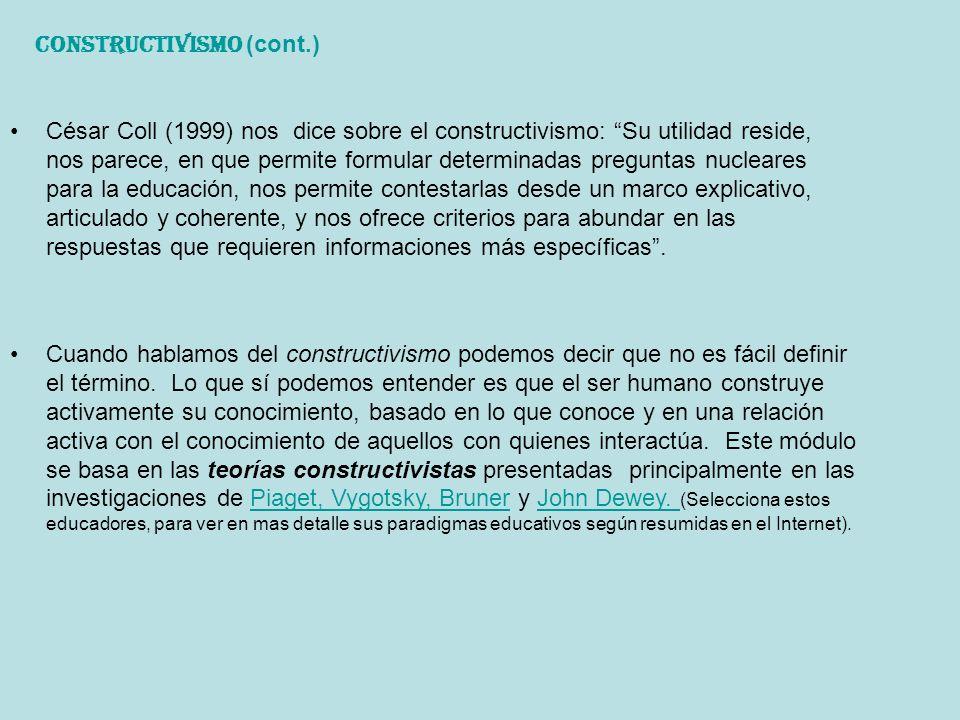 Constructivismo (cont.)