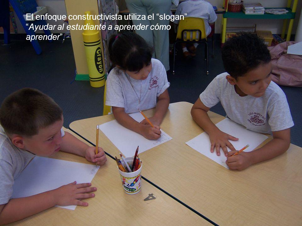 El enfoque constructivista utiliza el slogan Ayudar al estudiante a aprender cómo aprender .