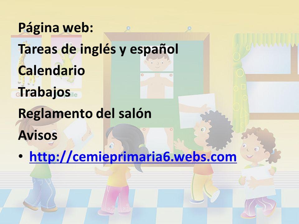 Página web: Tareas de inglés y español. Calendario.