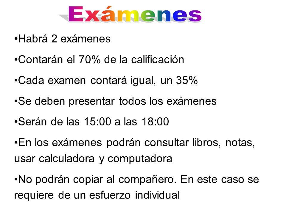Exámenes Habrá 2 exámenes Contarán el 70% de la calificación
